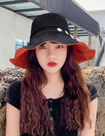 Fashion Black + Brick Red Daisy Fisherman Hat With Big Edge Embroidery On Both Sides