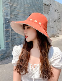 Fashion Brick Red + Meter Daisy Fisherman Hat With Big Edge Embroidery On Both Sides