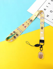 Fashion Milk Tea Cat 【long Rope】 Printed Resin Flower Animal Widen Mobile Phone Lanyard