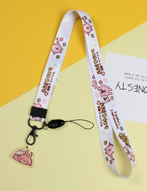 Fashion White Letter Rabbit Mobile Phone Lanyard With Printed Animal Broadband Braid