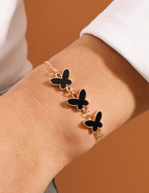 Fashion Black Butterfly Resin Alloy Adjustable Bracelet