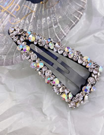 Fashion Triangle White Diamond-shaped Seamless Crystal Hollow Water Drop Square Triangle Hairpin