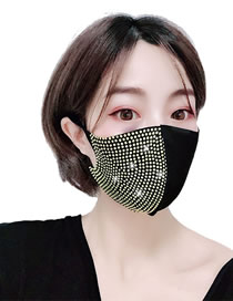 Fashion Golden Diamond-stitched And Contrasting Dust-proof Cotton Mask