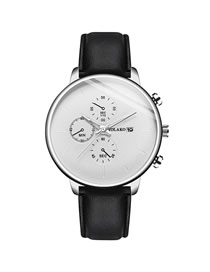 Fashion Black Belt White Noodles Calendar Three Eyes Slim Men's Leather Belt Watch