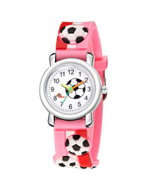 Fashion Pink 3d Embossed Stripe Plastic Band Football Children Watch