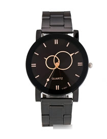 Fashion Men's Black Face Round Turntable Steel Belt Quartz Couple Watch