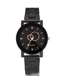 Fashion Female Black Face Round Turntable Steel Belt Quartz Couple Watch