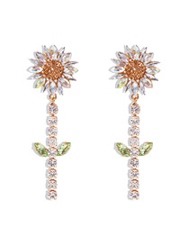 Fashion Ab White Alloy Earrings Studded With Diamond Flowers