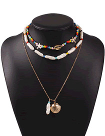 Fashion Golden Pearl Shell Starfish Alloy Multilayer Necklace