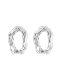 Fashion White K Geometric Concave And Convex Alloy Earrings