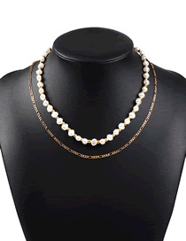 Fashion Golden Alloy Imitation Pearl Rice Beads Woven Multi-layer Necklace