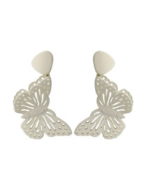 Fashion Beige Three-dimensional Double-painted Butterfly Hollow Earrings