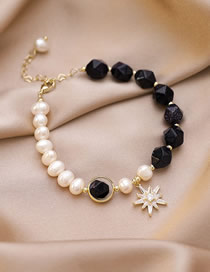 Fashion Black And White Star-studded Blue Sandstone And Pearl Contrast Bracelet