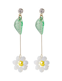 Fashion White Crystal Beaded Flowers And Leaves Contrast Color Resin Alloy Earrings