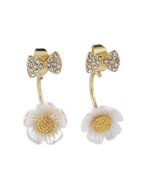 Fashion White Earrings With Diamond Bow And Three-dimensional Small Flowers