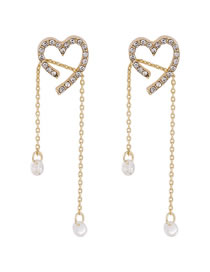 Fashion Golden Love Diamond Long Crystal Tassel Pullable Earrings