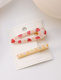 Fashion Strawberry Two-piece Duckbill Clip With Fruit Flower Print