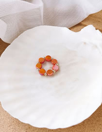 Fashion Red Handmade Beaded Geometric Disc Ring