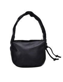 Fashion Black Chain Solid Color Pleated Shoulder Crossbody Bag