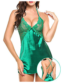 Fashion Green Ice-like Silk Deep V Stitching Lace Hanging Neck Open Leaky Pajamas