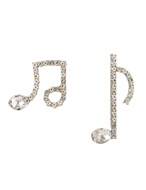 Fashion Musical Notes Musical Character Full Diamond Alloy Earrings