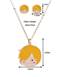 Fashion Kid Yellow Dropped Oil Color Geometric Alloy Earring Necklace Set