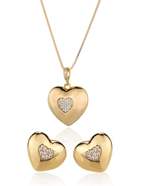 Fashion Golden Gold-plated Diamond Earring Necklace