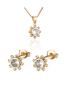 Fashion Golden Round Gold-plated Diamond Earring Necklace Set