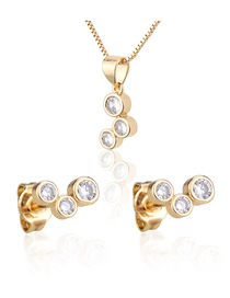 Fashion Golden Set Of Three Round Gold-plated Zircon Earring Necklaces
