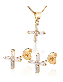Fashion Golden Gold Plated Zircon Cross Earring Necklace Set