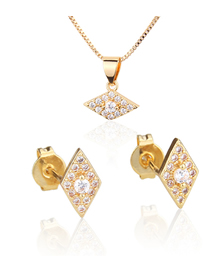 Fashion Golden Diamond-shaped Diamond-plated Earring Necklace Set