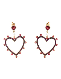 Fashion Gold-plated Red Zirconium Copper Electroplated Gold And Diamond Cutout Earrings