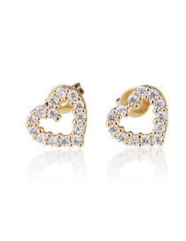 Fashion White Zirconium Copper Plating Gold Love Hollow Earrings