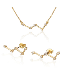 Fashion Golden Constellation Gold Plated Diamond Earring Necklace Set