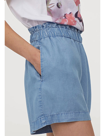 Fashion Blue Denim Blended Elasticated Waist Shorts