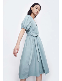 Fashion Green Loose V-neck Tether Bow Pleated Dress