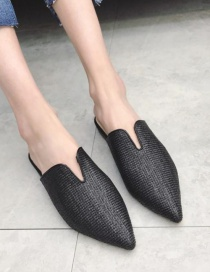Fashion Black Tengcao Flat Pointed Pointed Toe Half Slippers