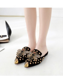 Fashion Black Pointed Rivets Bee And Diamond Toe Cap Half Slippers