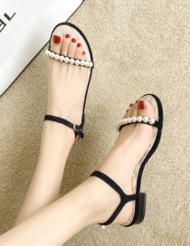 Fashion Black Flat Open-toe Sandals With Pearls
