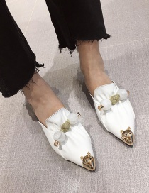 Fashion White Metal Rhinestone Pointed Flat Bottom Baotou Sandals And Slippers