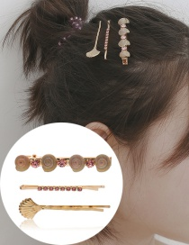 Fashion Pink Conch Shell Diamond Alloy Hairpin Set