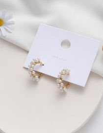 Fashion Pearl Hand-woven Crystal Pearl Alloy Earrings