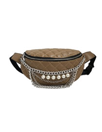 Fashion Brown Pearl Chain Quilted Shoulder Crossbody Bag