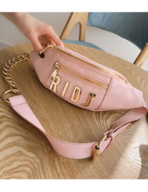 Fashion Pink Thick Chain Metal Letter Crossbody Chest Bag