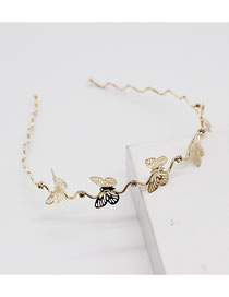 Fashion Single Layer Butterfly Butterfly Rose Flower Double Layer Alloy Hollow Headband