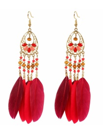 Fashion Red Geometric Alloy Drop-shaped Feather Hollow Earrings