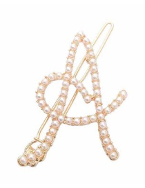 Fashion Letter Letter Pearl Alloy Hollow Hair Clip