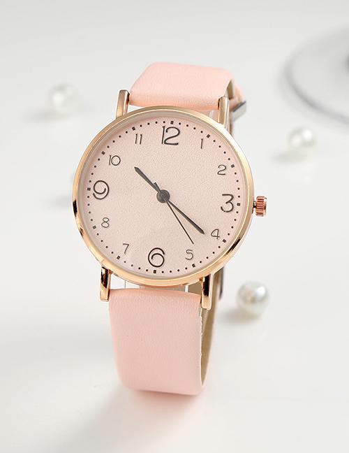 Fashion Pink Ultra-thin Pu Strap Ladies Quartz Watch