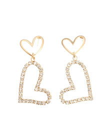 Fashion Golden Diamond Love Heart Openwork Earrings