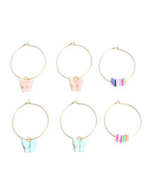 Fashion Color Mixing Acrylic Butterfly Terracotta Earring Set